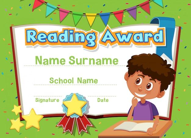 Plantilla de certificado para leer premio con niño leyendo en segundo plano