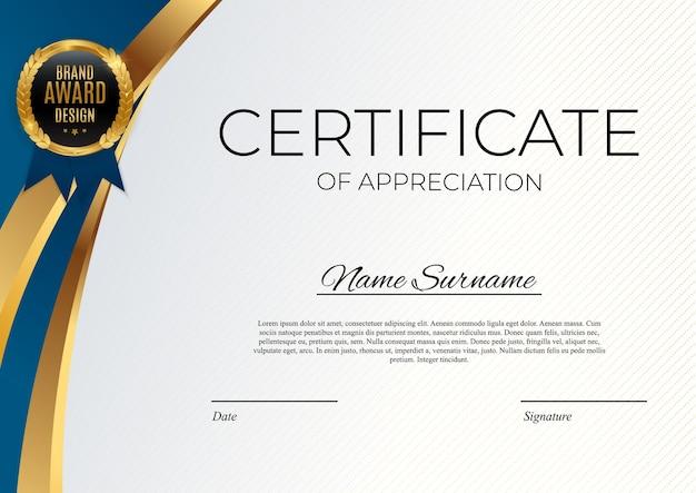 Plantilla de certificado de logro azul y dorado