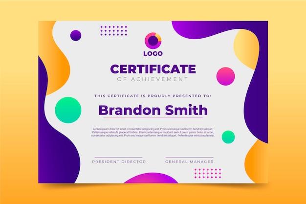 Plantilla de certificado de logro degradado vector gratuito