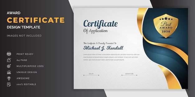 Plantilla de certificado de logro o plantilla de diseño de certificado de reconocimiento de diploma