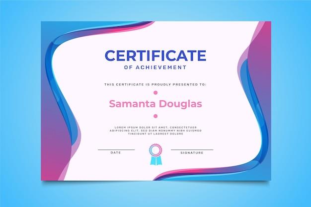 Plantilla de certificado de logro plano moderno