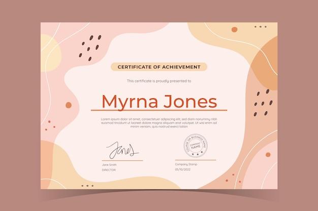 Plantilla de certificado de logro plano