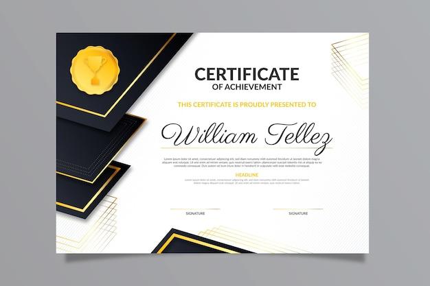 Plantilla de certificado de lujo degradado