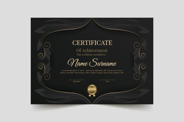 Plantilla de certificado de lujo dorado degradado