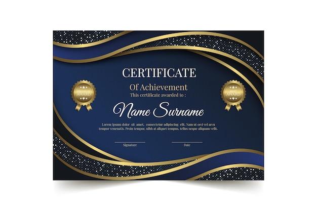 Plantilla de certificado de lujo dorado realista