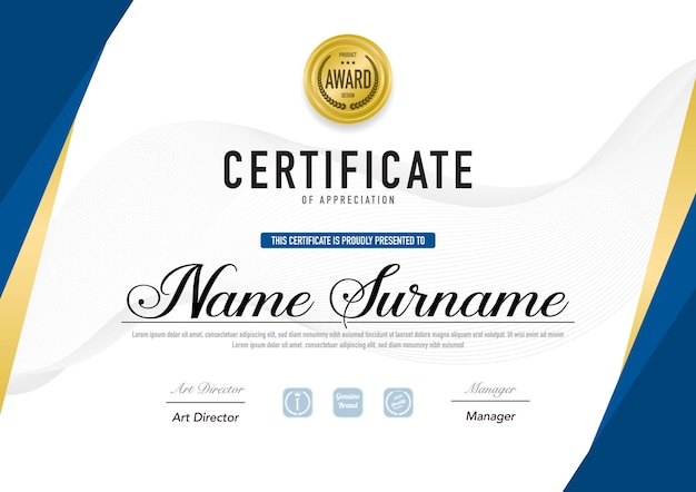 Plantilla de certificado de lujo y estilo diploma.