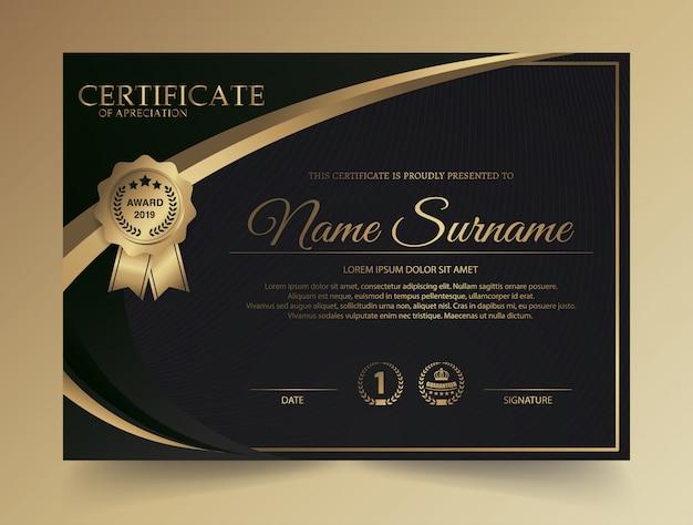 Plantilla de certificado con lujo y patrón moderno, diploma, ilustración vectorial