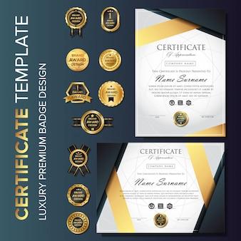 Plantilla de certificado de lujo profesional con insignia