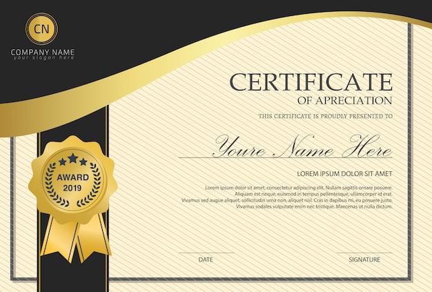 Plantilla de certificado con lujo.
