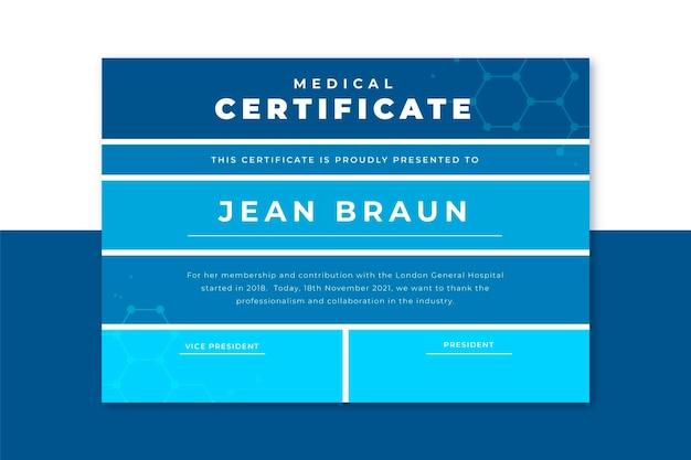 Plantilla de certificado médico de cuadrícula