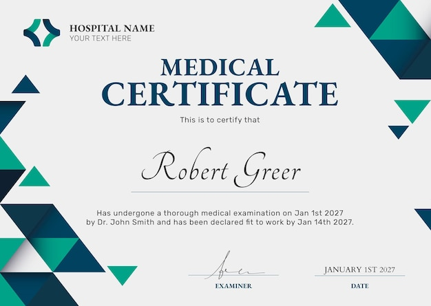 Plantilla de certificado médico en diseño abstracto