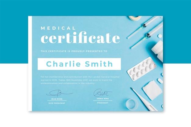 Plantilla de certificado médico con foto y texto