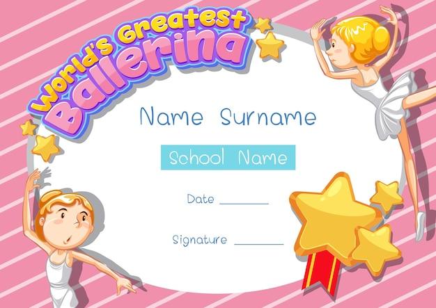 Plantilla de certificado para la mejor bailarina del mundo