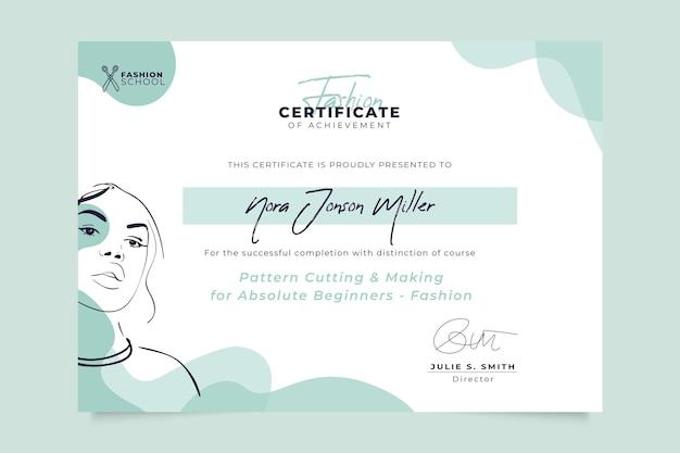 Plantilla de certificado de moda monocolor abstracto