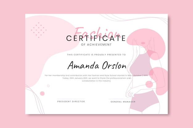 Plantilla de certificado de moda monocolor doodle
