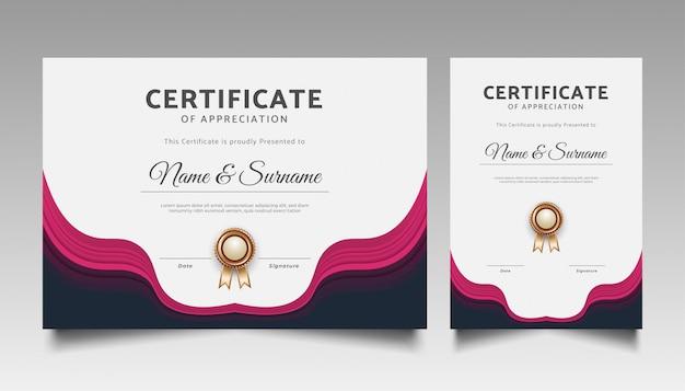 Plantilla de certificado moderna con adornos ondulados