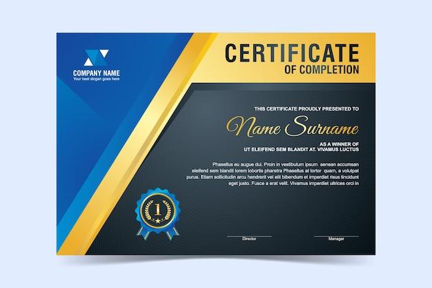 Plantilla de certificado moderna, moderna y elegante con diseño en color azul y dorado