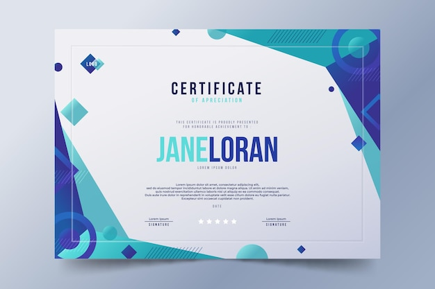 Plantilla de certificado moderno degradado vector gratuito