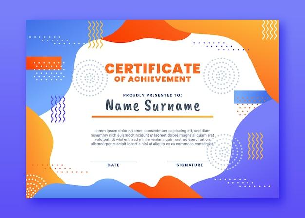 Plantilla de certificado moderno degradado
