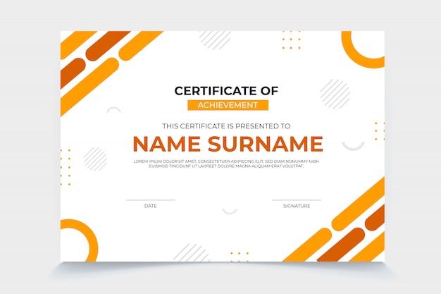 Plantilla de certificado moderno con diseño plano