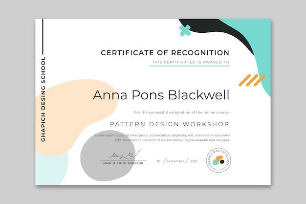 Plantilla de certificado moderno de diseño plano