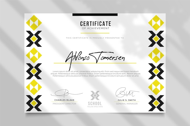 Plantilla de certificado moderno con diseño tradicional