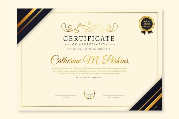 Plantilla de certificado moderno elegante degradado