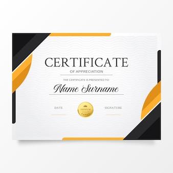 Plantilla de certificado moderno con formas abstractas de naranja