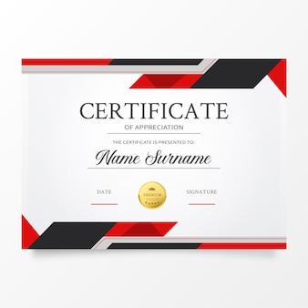 Plantilla de certificado moderno con formas abstractas rojas