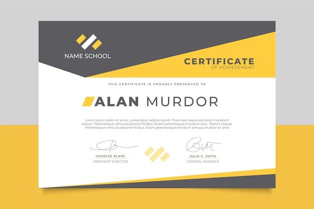 Plantilla de certificado moderno con formas