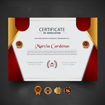 Plantilla de certificado moderno rojo degradado