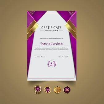 Plantilla de certificado moderno verde elegante