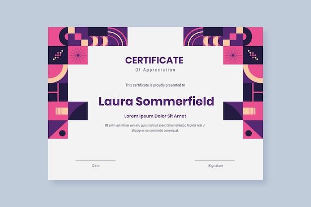 Plantilla de certificado de mosaico plano vector gratuito