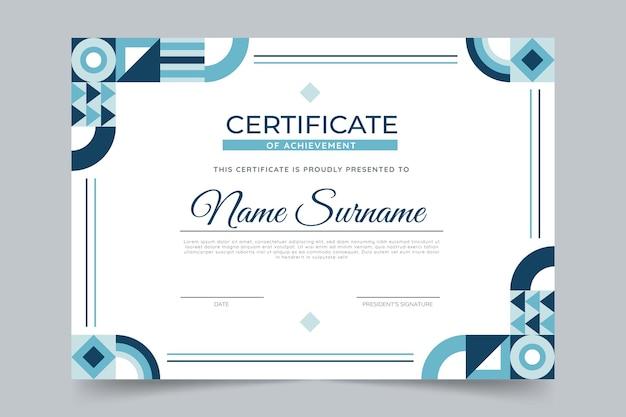 Plantilla de certificado de mosaico plano