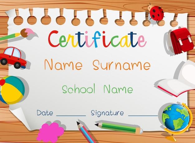 Plantilla de certificado con muchos juguetes