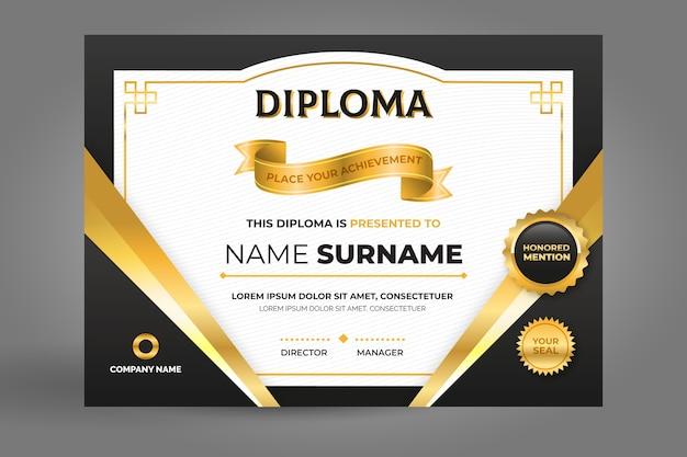 Plantilla de certificado en negro y dorado