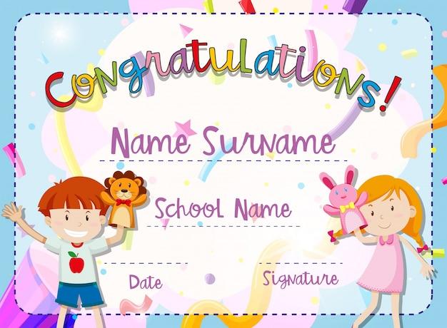 Plantilla de certificado con niño y niña