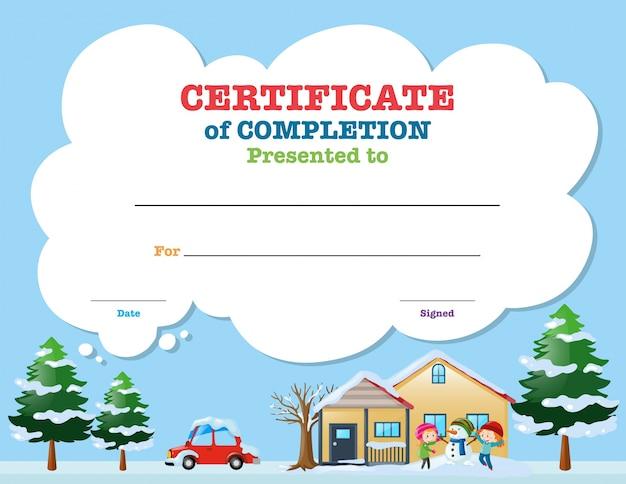 Plantilla de certificado con los niños en invierno