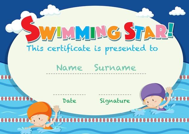 Plantilla de certificado con niños nadando