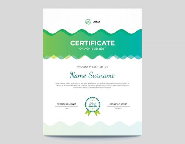 Plantilla de certificado de ondas de color verde y azul abstracto vertical
