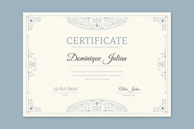Plantilla de certificado ornamental dibujado a mano grabado