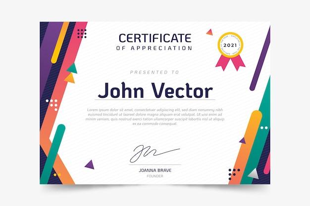 Plantilla de certificado plano moderno