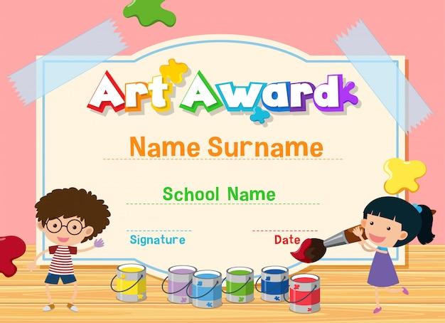 Plantilla de certificado para premio de arte con niños pintando en