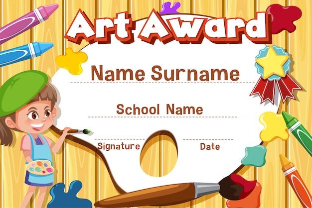 Plantilla de certificado para premio de arte con pintura infantil en segundo plano