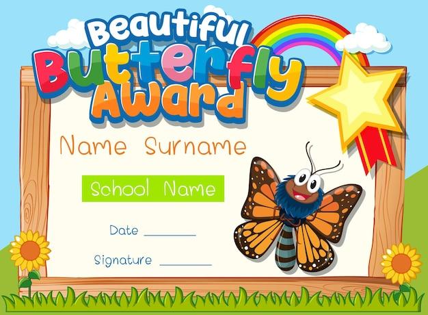 Plantilla de certificado con el premio beautiful butterfly