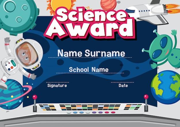 Plantilla de certificado para premio de ciencias con espacio