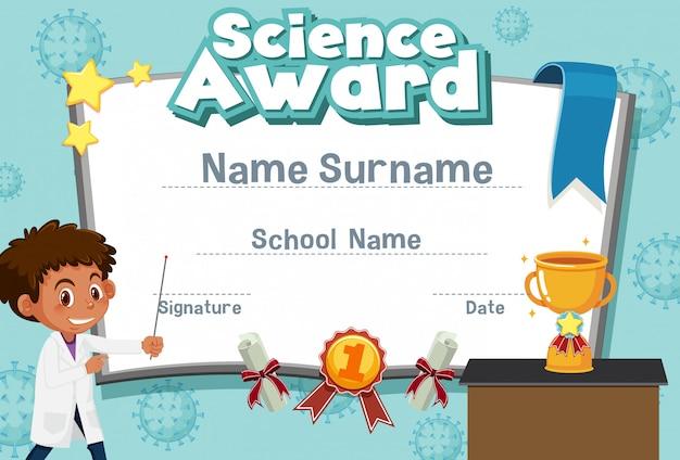 Plantilla de certificado para premio de ciencias con niño en el fondo de laboratorio