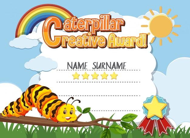 Plantilla de certificado para premio creativo con orugas