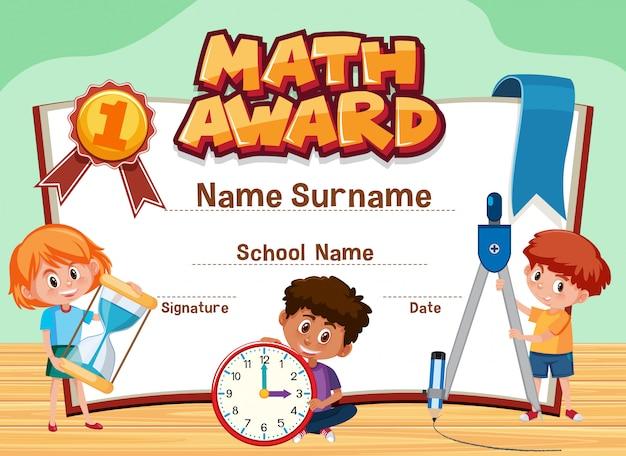 Plantilla de certificado para el premio de matemáticas con niños en