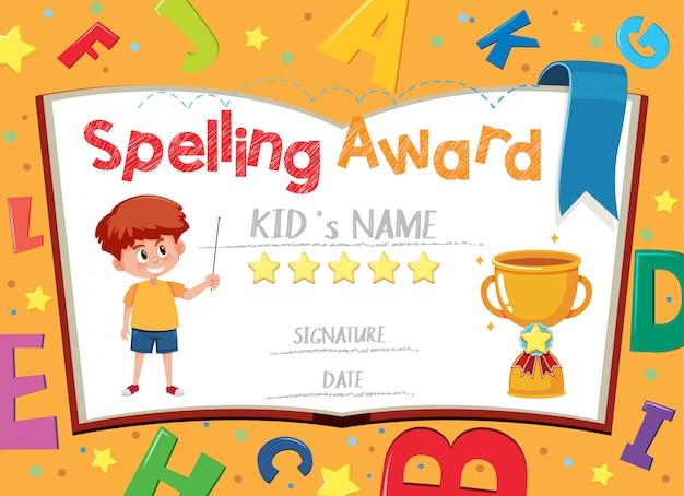Plantilla de certificado para el premio de ortografía con el niño en el fondo